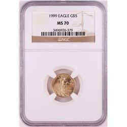 1999 $5 American Gold Eagle Coin NGC MS70