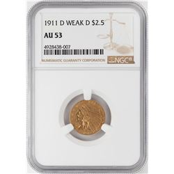 1911-D Weak D $2 1/2 Indian Head Quarter Eagle Gold Coin NGC AU53