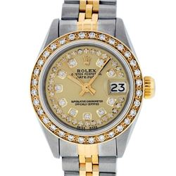 Rolex Ladies Two Tone Steel & Gold Champagne String Diamond Datejust Wristwatch