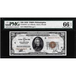 1929 $20 Federal Reserve Bank Note Philadelphia Fr.1870-C PMG Gem Uncirculated 66EPQ