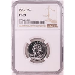 1955 Proof Washington Quarter Coin NGC PF69