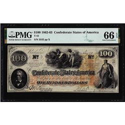 1862 $100 Confederate States of America Note T-41 PMG Gem Uncirculated 66EPQ