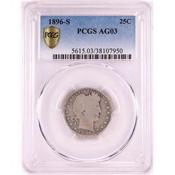 1896-S Barber Quarter Coin PCGS AG03