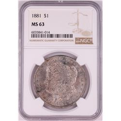 1881 $1 Morgan Silver Dollar Coin NGC MS63