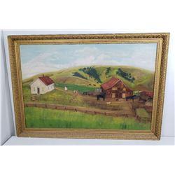 Philipsburg Montana Farm Folk Art Painting 1894