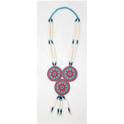 Montana Indian Beaded Rosette Hair Pipe Necklace