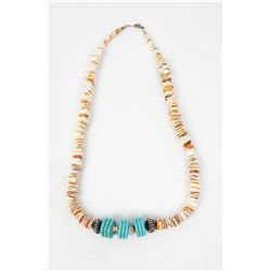 Navajo Spiny Oyster Shell and Turquoise Necklace