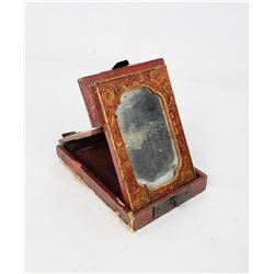 Antique Chinese Folding Travel Vanity Mirror