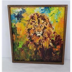 Impressionist Oil Painting of Lion Cassandra