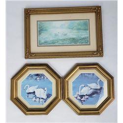Lot of 3 Swan Prints