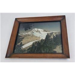 Hand Tinted Photo Mount Rainier Washington
