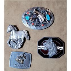 Lot of Belt Buckles Turquoise Horses