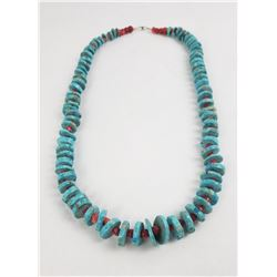 Navajo Discoidal Red Coral Turquoise Necklace