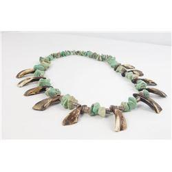 Navajo Petrified Buffalo Teeth Turquoise Necklace
