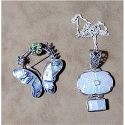 Sterling Silver Abalone Moonstone Brooch Necklace