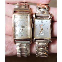 Lot of 2 Art Deco Tanker Watches Gruen Curvex