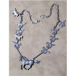 Sterling Silver Horse Link Necklace