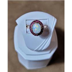 Coober Pedy Australia Fire Opal Ruby Gold Ring