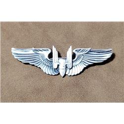"""WW2 Sterling Silver Aerial Gunner 3"""" Pilot Wings"""
