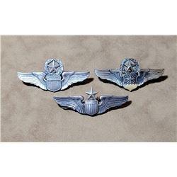 3 Sterling Silver Pilot Flight Wings Korean War