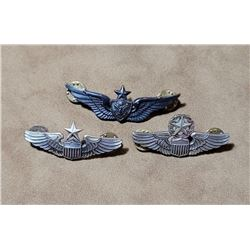 """Lot of 3 Sterling Silver 2.5"""" Pilot wings"""