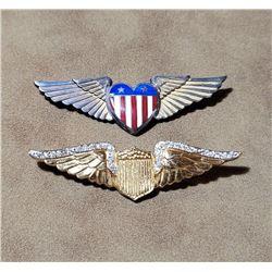 Lot of 2 WW2 Sweetheart Homefront Pilot Wings