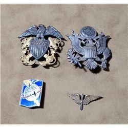 Lot of 4 Korean War Sterling Silver Army Navy Pins