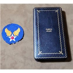 Empty WW2 Purple Heart Box and Air Corps Patch