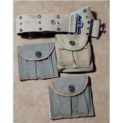 WW2 Mills Belt and 3 M1 Carbine Magazine Pouches