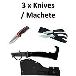 3 x Knives/Machete