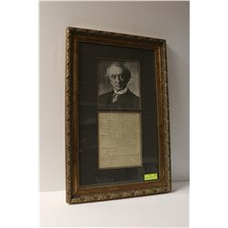 1848 SIR JOHN A MACDONALD SIGNED LETTER FRAMED