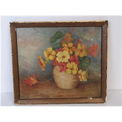 NELLIE BROWN OIL ON BOARD FLORAL PAINTING