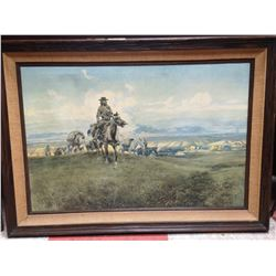 OIL ON CANVAS SIGNED CM RUSSELL 1918. THE WORLD WAS