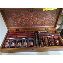 WOODEN CASED QUILL PEN SET WITH WAX SEAL