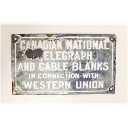 ANTIQUE CANADIAN NATIONAL PORCELAIN SIGN TELEGRAPH