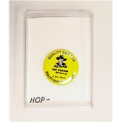1950S HOPALONG CASSIDY ICE CREAM BUTTON