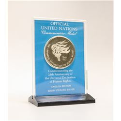 SOLID STERLING SILVER UN MEDAL