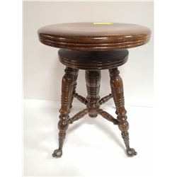 ANTIQUE GLASS BALL CLAW FOOT PIANO STOOL