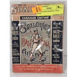 1920 SPALDING BASEBALL RULE BOOK
