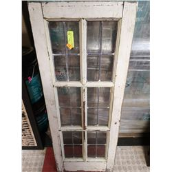 ANTIQUE LEADED GLASS STORM WINDOW