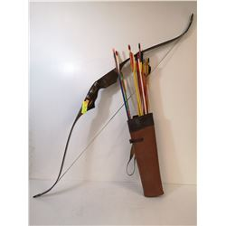 VINTAGE HIGH TENSION BOW WITH ARROWS