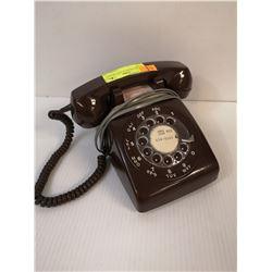VINTAGE BROWN PLASTIC ROTARY PHONE