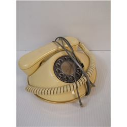 VINTAGE ROUND YELLOW AND GOLD ROTARY PHONE