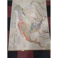 GEOLOGICAL WALL MAP OF N. AMERICA BY GEORGE STOSE