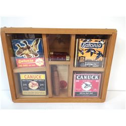 OLD SHOT SHELL DISPLAY /W CALL, MB GAME LICENSE.