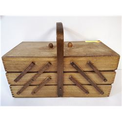 ANTIQUE ACCORDION SEWING BOX WITH CONTENTS. ESTATE