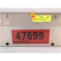 ANTIQUE 1944 (EXP 45)ALBERTA LICENSE PLATE STICKER