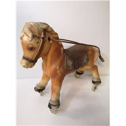 VINTAGE PULL HORSE ON WHEELS WITH CORD