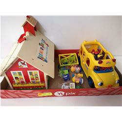 VINTAGE FISHER PRICE SCHOOL HOUSE AND BUS