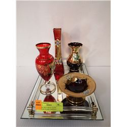 MIRROR TRAY WITH 3 RUBY VENETIAN GLASS VASES & 1